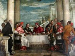 Copie de la Cène du pape Saint Grégoire de Véronèse - galerie - Atelier de restauration du Château de Sers