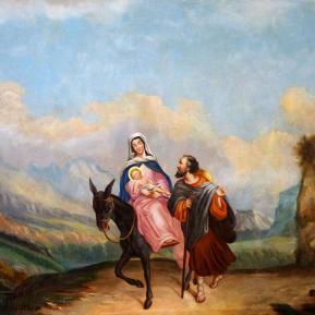 """Restauration de peinture de chevalet huile sur toile d'église """"Fuite en Egypte"""" XIXème siècle - Après restauration"""