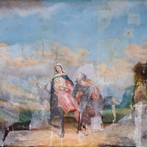 """Restauration de peinture de chevalet huile sur toile d'église """"Fuite en Egypte"""" XIXème siècle - Avant restauration"""