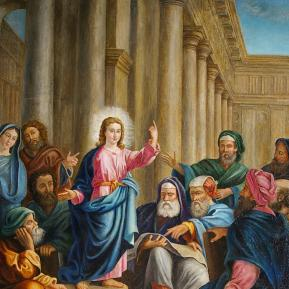 """Restauration de peinture de chevalet huile sur toile """"Jésus parmi les docteurs"""" Eglise de Saint-Cyr les Champagnes (Dordogne) XIXème siècle  - Après restauration"""