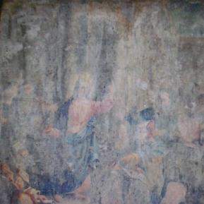 """Restauration de peinture de chevalet huile sur toile """"Jésus parmi les docteurs"""" Eglise de Saint-Cyr les Champagnes (Dordogne) XIXème siècle  - Avant restauration"""