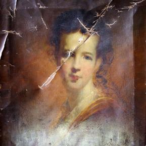 Restauration de peinture de chevalet huile sur toile - Portrait peintre anglais XIXème siècle - Avant restauration