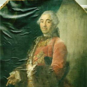 """Restauration de peinture de chevalet huile sur toile """"Portrait"""" XVIIIème Château de La Rochefoucauld - Avant restauration"""