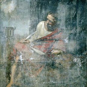 """Restauration de peinture de chevalet huile sur toile """"Saint-Marc"""" Eglise de Montagnac d'Auberoche (Dordogne) - Avant restauration"""